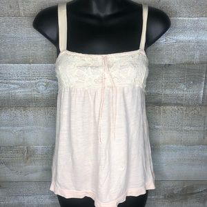 American Eagle light pink babydoll lace tank top